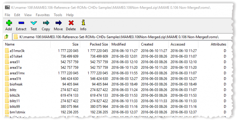 7Zip Screenshot of Rom Subfolders
