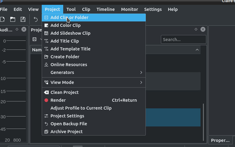 Add Clip to KDENLive