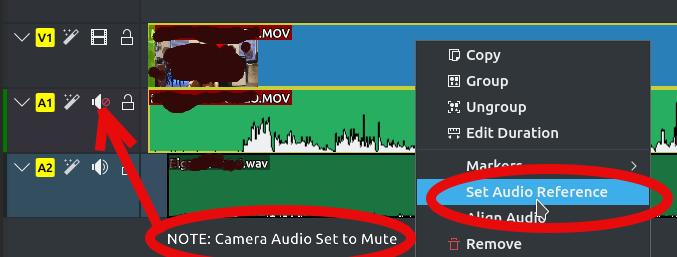 KDENlive Set Audio Reference
